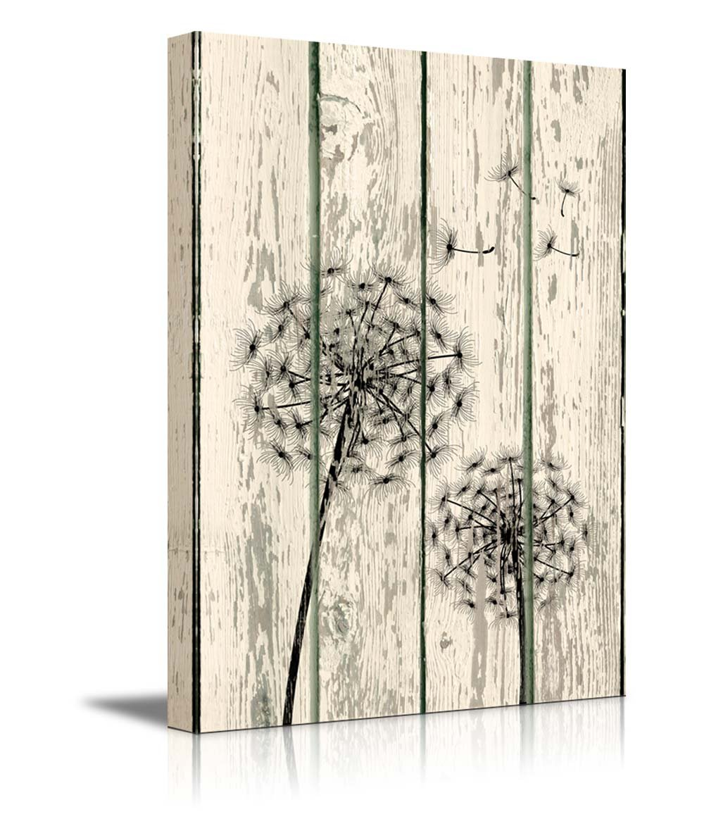 wall26 Canvas Prints Wall Art - Dandelion on Vintage Wood Board Background Rustic Home Decoration - 48'' x 32''