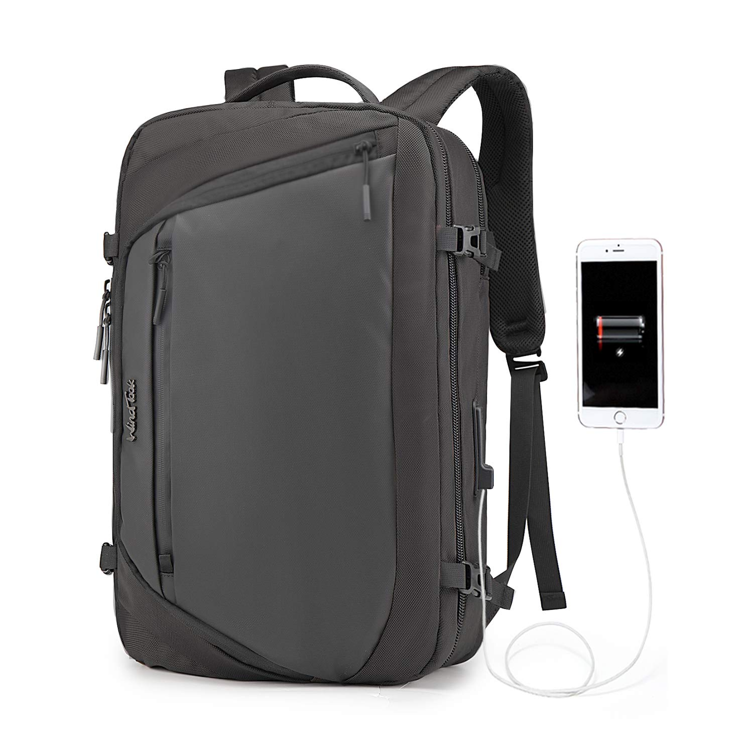 WindTook Laptop Backpack Business Travel 17inch Laptops Backpack with USB Charging Port, College School Computer Bag for Women & Men (17in-Black)