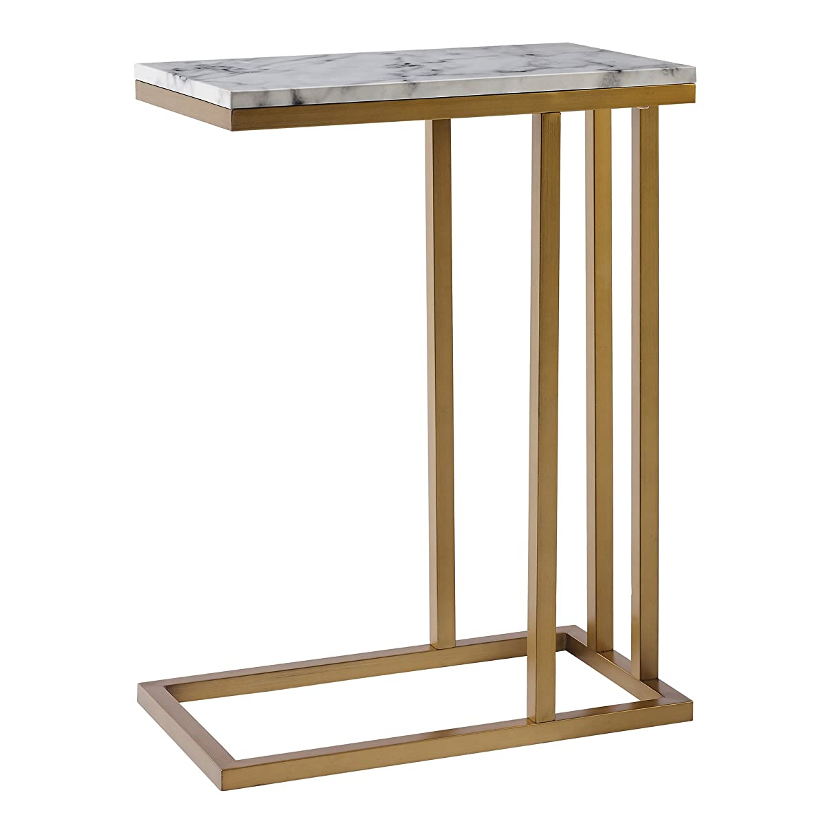 Versanora - Marmo C Shape Table - Faux Marble /Brass