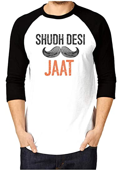 00d8d4c7b Canis Shudh Desi Jaat  Trendy  Raglan/Crew Neck Men's Black & White Full  Sleeve Printed T-Shirt: Amazon.in: Clothing & Accessories