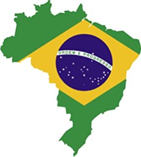 Map with flag inside brazil 4x4.5 sticker decal die cut vinyl - Made and