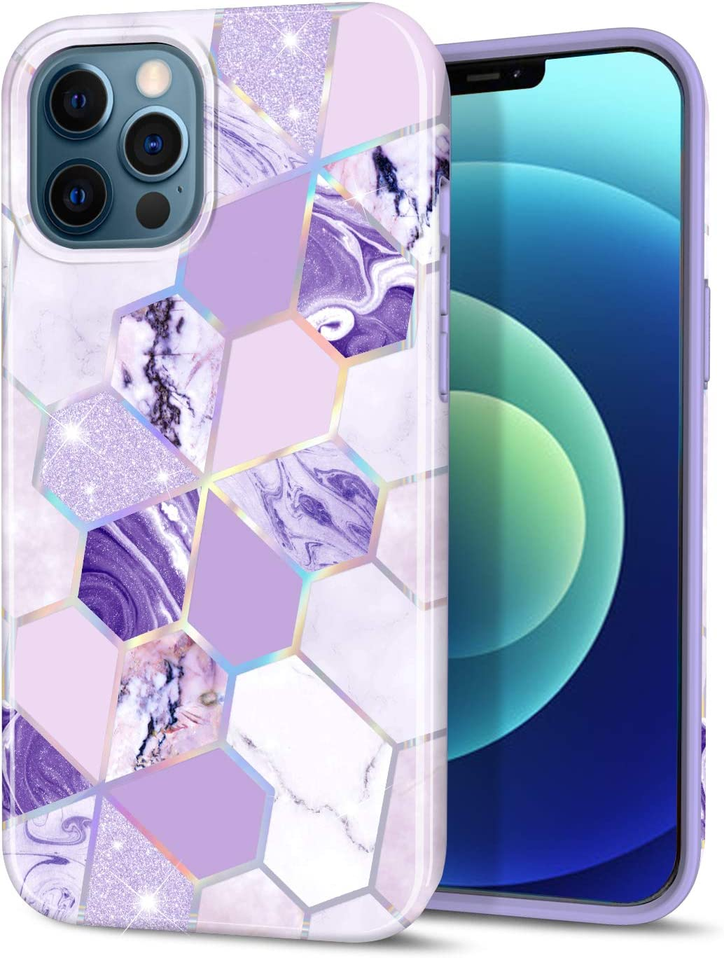 "CAOUME Compatible with iPhone 12 iPhone 12 Pro Case Purple Geometric Marble Design Sparkly Glitter Protective Stylish Slim Thin Cute Holographic Cases for Apple Phone 6.1"" 2020, Soft TPU Silicone"