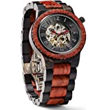 JORD Wooden Watches for Men - Dover Series Skeleton Automatic / Wood Watch Band / Wood Bezel / Self Winding Movement - Includes Wood Watch Box (Ebony & Rosewood)