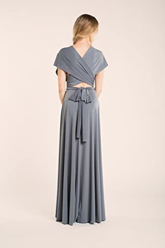 Amazon.com: Silver grey infinity dress, neutral grey dress, long grey dress, silver grey bridesmaid dress, grey maxi dress, long gray dress, ...