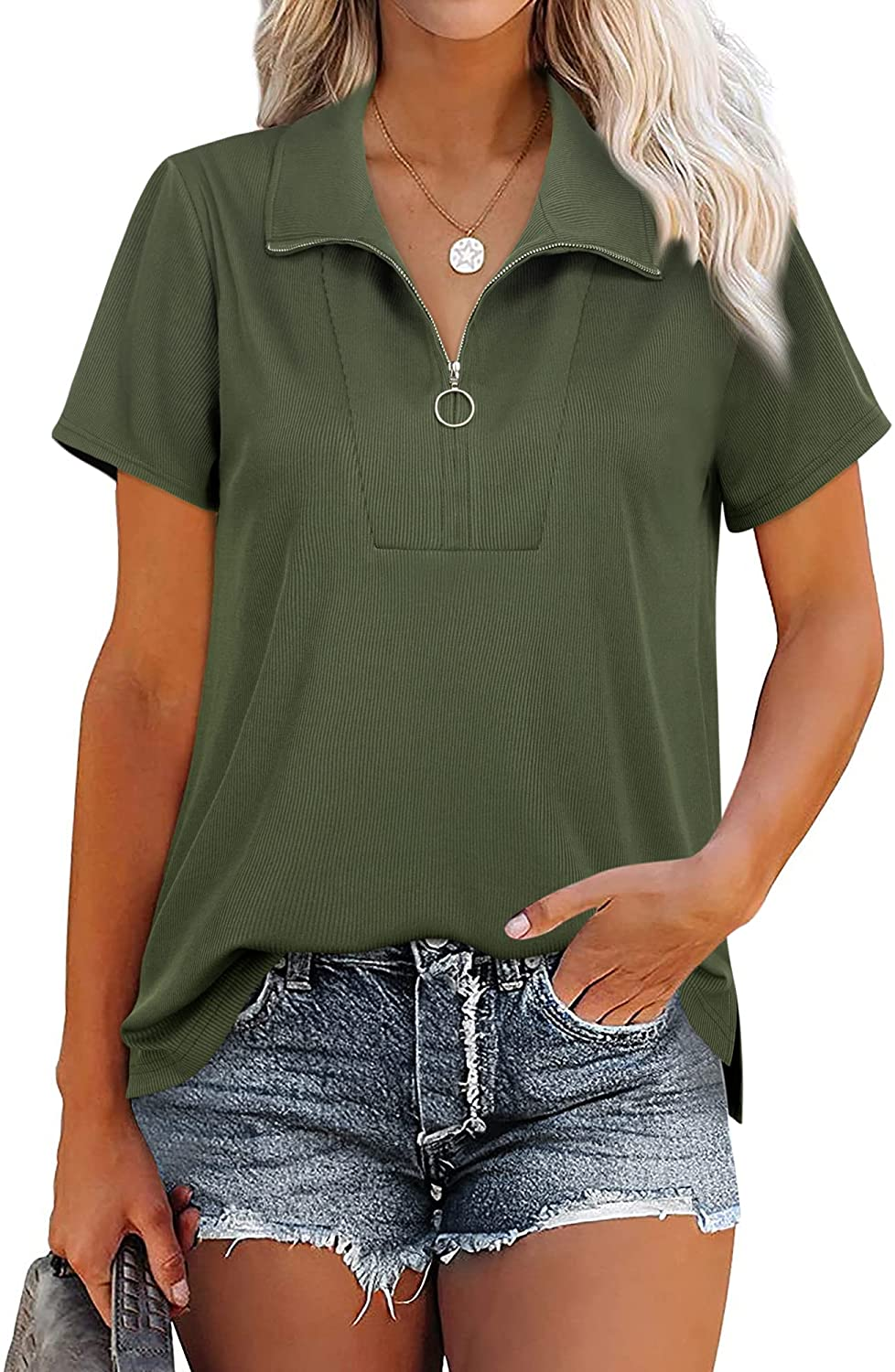 MCKOL Women's Loose Fit Short Sleeve Zipper Tops and Blouses Casual Collared Tunic Shirt