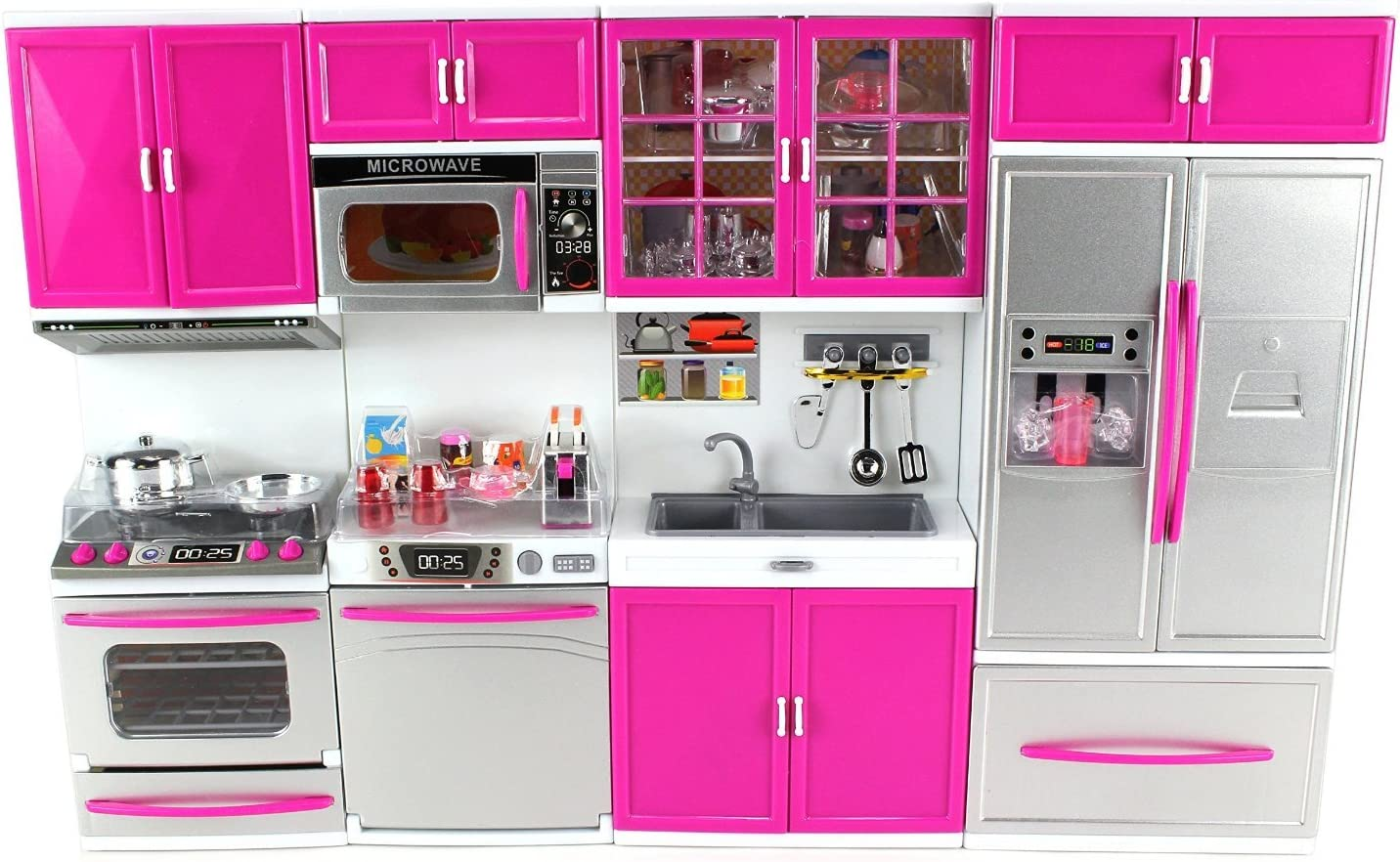 Amazon Com Doll Playsets My Modern Kitchen 32 Full Deluxe Kit With Lights And Sounds 21 X 13 8 X 4 Inches Toys Games