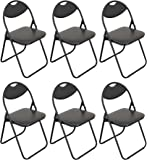 Harbour Housewares Black Padded, Folding, Desk Chair / Black Frame - Pack of 6