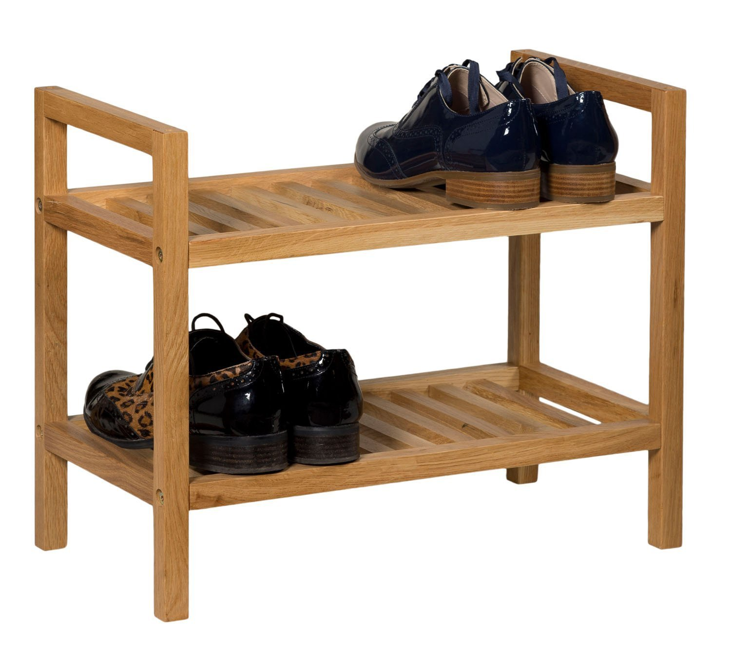 Solid Wood Oak Shoe Rack Organizer with 2 Shelves Hallway Wooden Small Stackable Shoes Storage Stand 2 Tier Fits 4 Pairs Rustic Country Farmhouse Design Space Saving Hall 2 Tiers Home Durable Brown