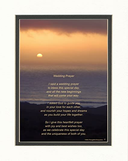 Wedding Gift For The Couple With Wedding Prayer Poem Ocean Sunset Photo