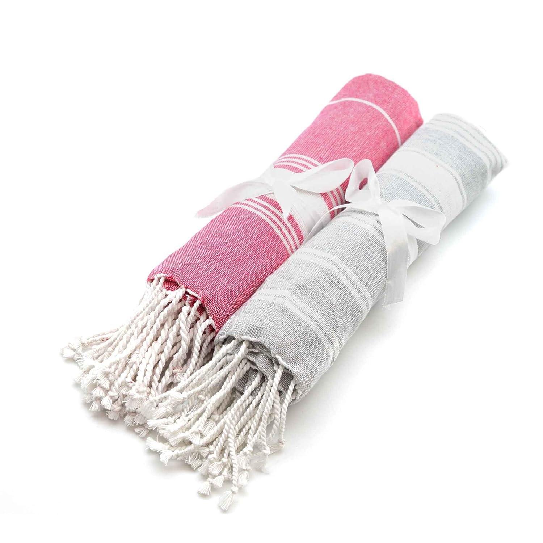 Nicola Spring Serviette de Plage/Bain hamam, peshtemal 100% Coton Rose et Gris