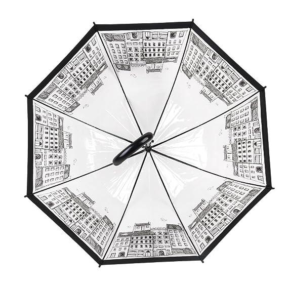 Amazon.com: Eternalclover Transparent Dome Shape Umbrellas, Long Handle Auto Open Rain Umbrellas for Women and Kids: Sports & Outdoors