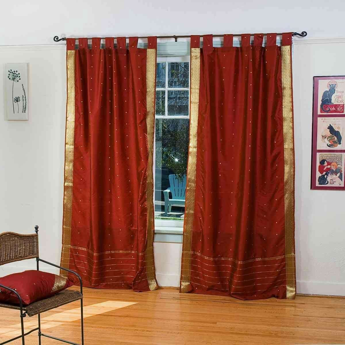 Indian Selections Lined-Rust Tab Top Sheer Sari Curtain Drape Panel – 80W x 120L – Pair