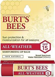 Burt's Bees All Weather Moisturising Lip Balm SPF15, 1 Tube