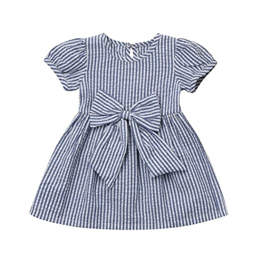 babcde89af Sagton® Kids Baby Girls Stripes Dress Clothes Bowknot Princess Dress 0-24M  (Blue