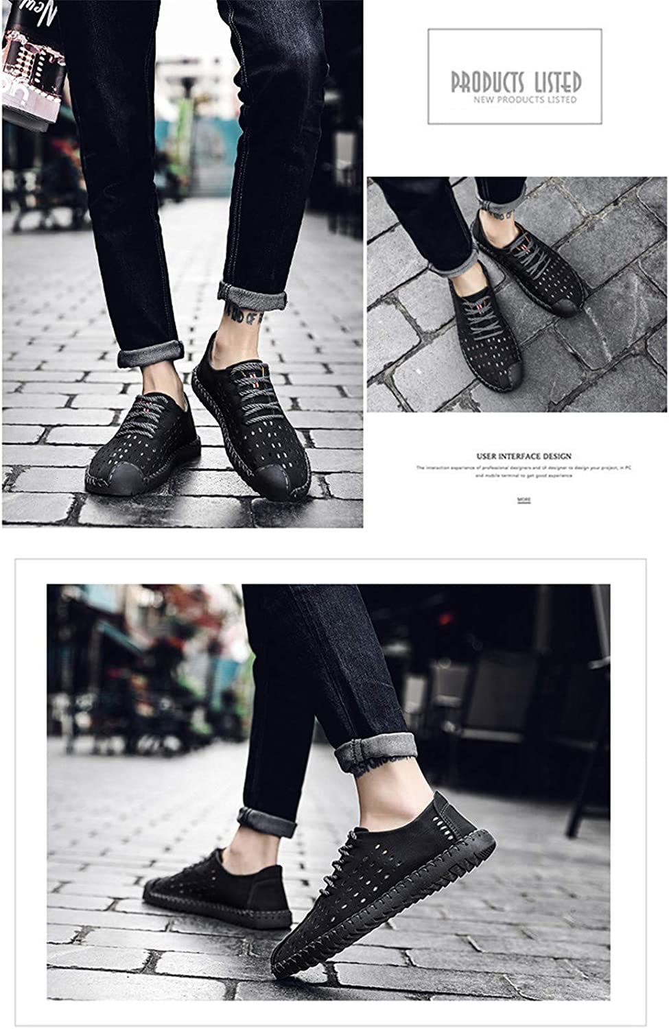 New Summer Comfortable Casual Shoes Loafers Split Leather Shoes Men Flats Shoes Black 6.5M US