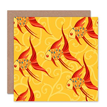 amazon co jp goldfish koi yellow fish fin blank greetings birthday