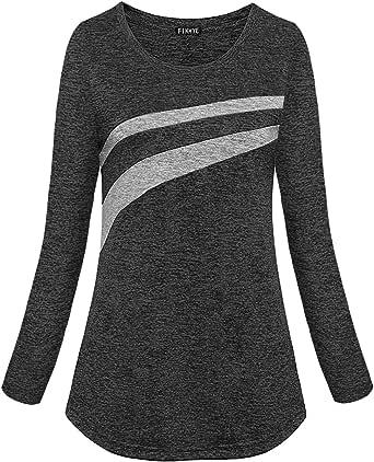 FINMYE Women's Long Sleeve Yoga Tops Dri Fit Running Activewear Moisture Wicking Workout Shirts