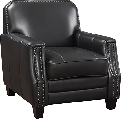 AC Pacific Leather Living Room Collection Contemporary Upholstered Full Grain Leather Club Arm Chair