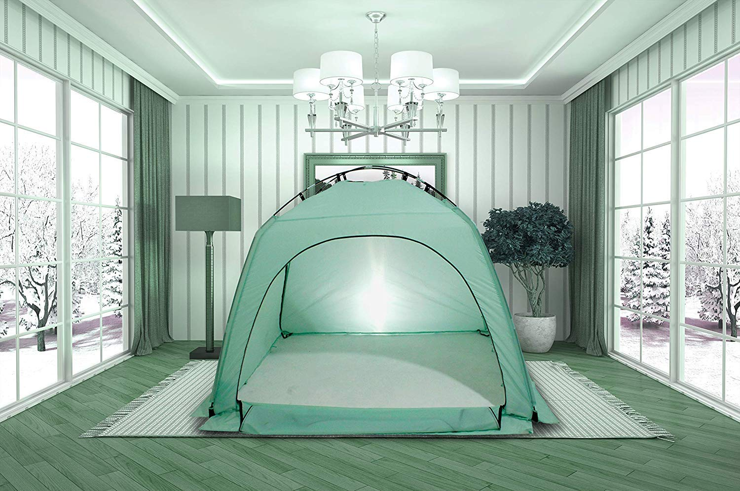 Miyaya Indoor Privacy Play Tent on Bed,Warm and Cozy Sleep BedTent (Light Blue Bed Tent)