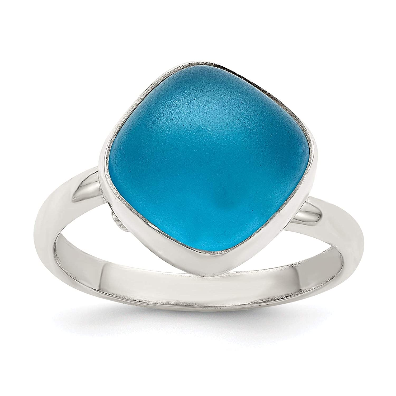 925 Sterling Silver Polished Large Blue Sea Glass Ring Size 6-8