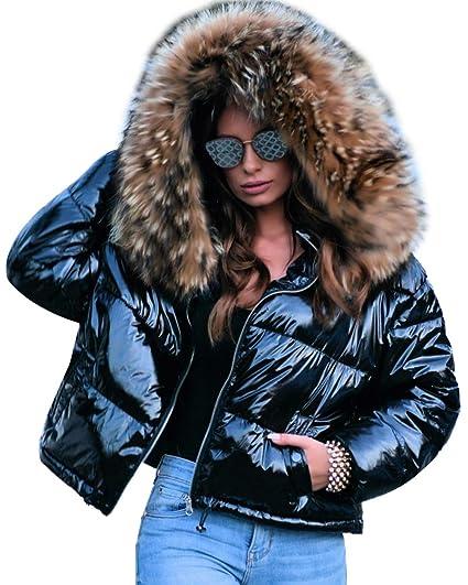 c81e075ba Roiii Women Winter Warm Down Jacket Thick Slim Flash Coat Down Outdoor Hood  Parka Short Slim Jacket Black
