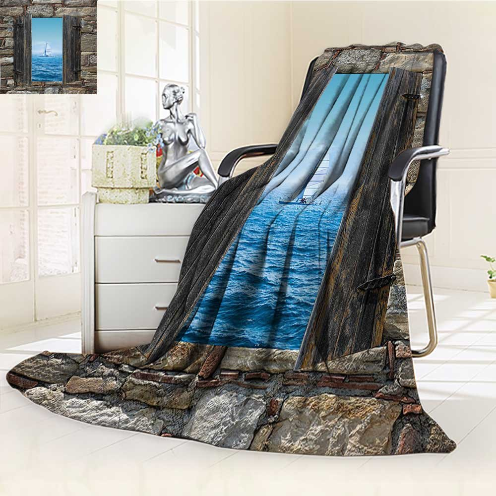 YOYI-HOME Silky Soft Plush Warm Duplex Printed Blanket,A Sailing Boat from Stone Window Narrow Perspective Idyllic Mediterranean Print Grey Blue Anti-Static,2 Ply Thick Blanket /W47 x H59
