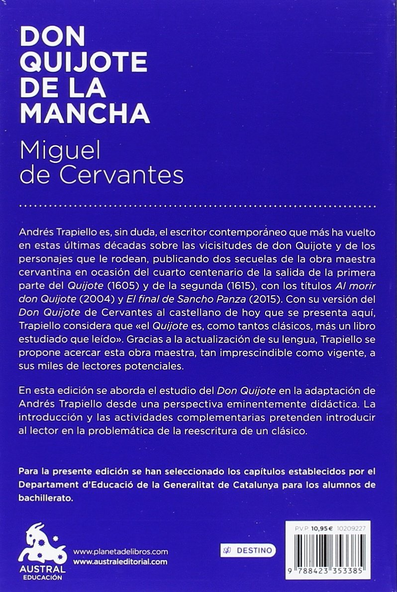 Don Quijote de la Mancha (Austral Educación): Amazon.es: Trapiello, Andrés: Libros
