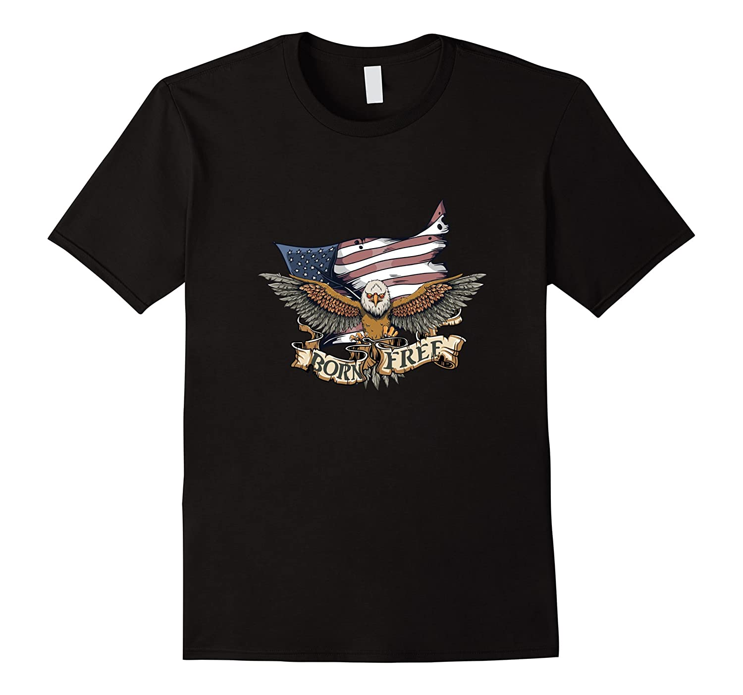 Born Free American Flag Patriotic Eagle T-shirt