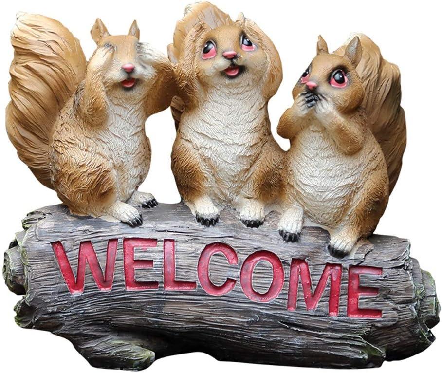 Bienvenido Signo jardín Estatua Figura De Bienvenida De Ardilla Pequeña Artesanía De Resina For Decoración De Jardín Villa De Jardín Vista Exterior Adecuado para Patio jardín jardín: Amazon.es: Hogar