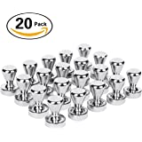 Magnetic Push Pins 20 pack ,Silver Magnets, Brushed Nickel Push Pin Strong Magnets for Refrigerator,Whiteboard, Map, Calendar and More