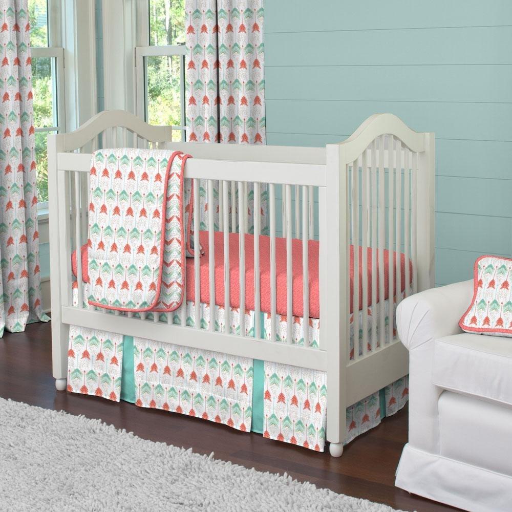 Carousel Designs Coral and Teal Arrow 3-Piece Crib Bedding Set