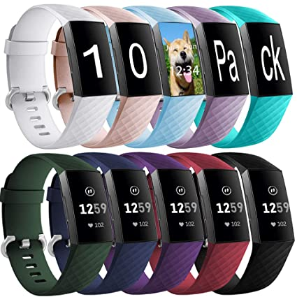 9f5c02bc7 Hamile Bands Compatible for Fitbit Charge 3, (10 Pack) Silicone Sport Strap  Replacement Watch Band Wristband for Fitbit Charge 3 and Charge 3 SE, ...