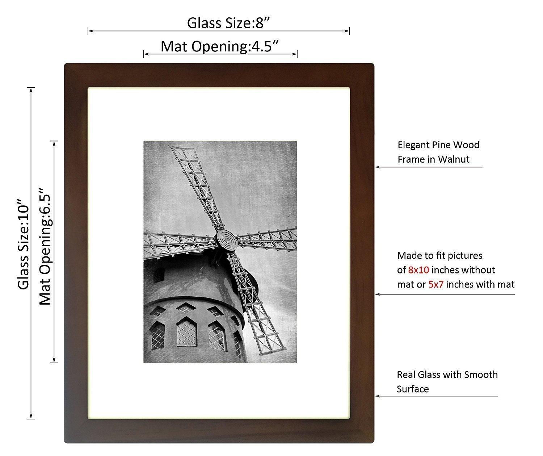 Amazon.de: Wieco Art 8 x 10 schwarz Holz Fotorahmen Bilderrahmen mit ...