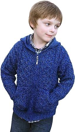 Irish Merino Wool Hooded Aran Little Boy's Zip Sweater 2 3