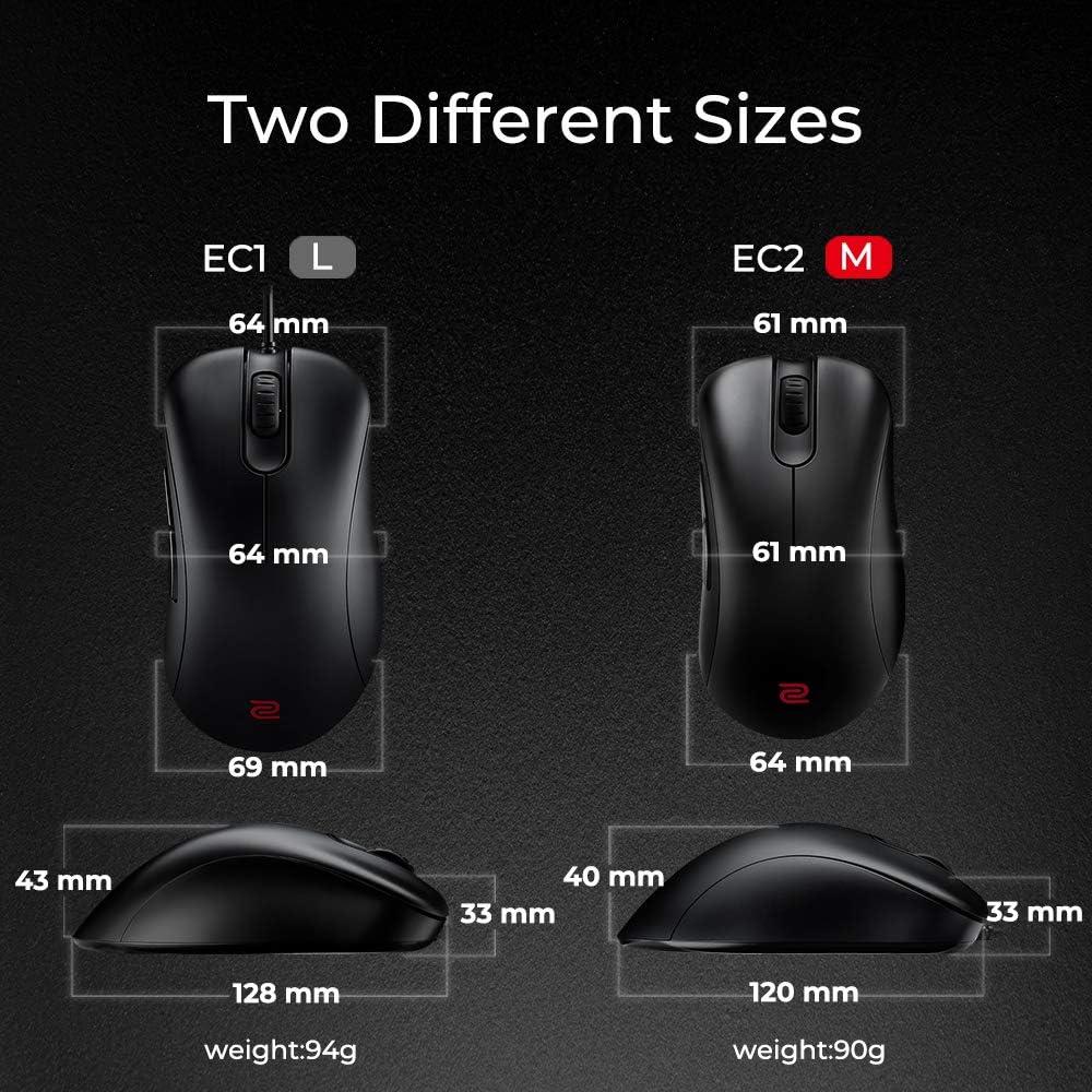 BenQ ZOWIE EC2 - Ratón para e-Sports, Negro, tamaño mediano, 120x61x40mm