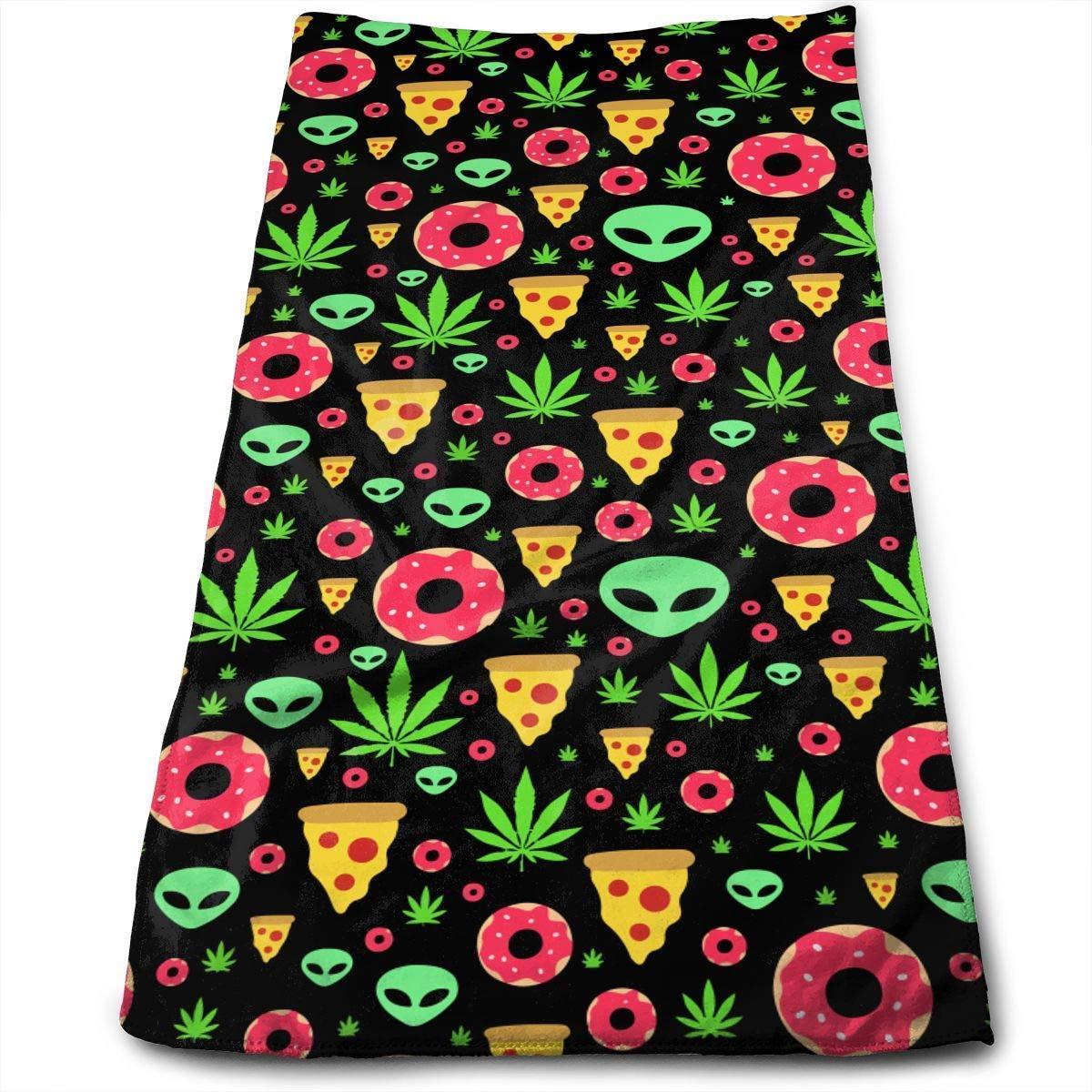 gimnasio 30x70 cm Entrenamiento deportivo Toallas para autos Marijuana Leafs Donuts Pizza Rebanadas Aliens Microfibra Toallas limpias Toallas faciales Secado r/ápido Toallas de mano para el ba/ño Spa