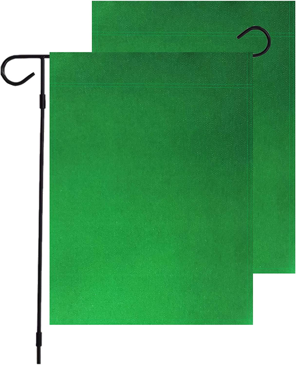 "InnoFun Solid Color Green Decorative Garden Flags,Plain Colored Blank Banner Double Sided DIY Flags 12""x 18"",Party Yard Outdoor Home Decoration (Green)"
