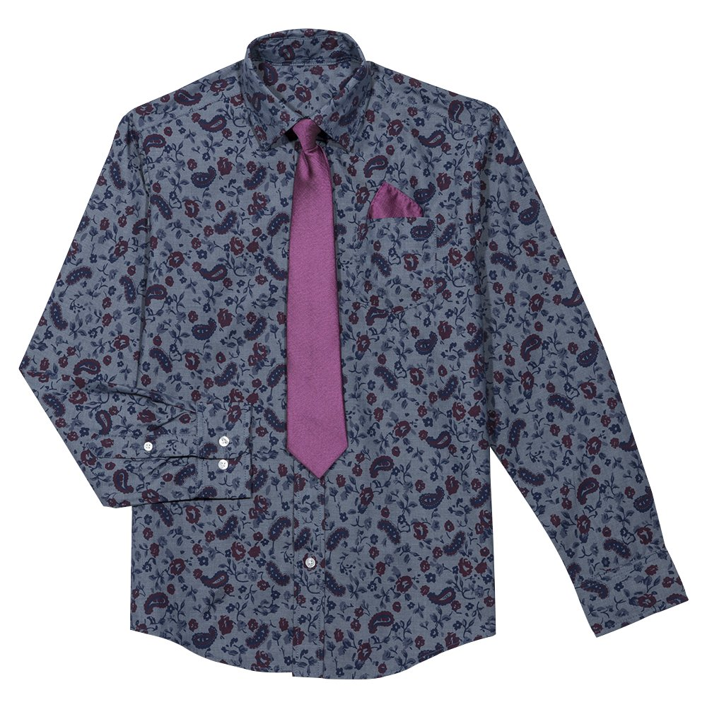 Steve Harvey Boys' Big Shirt and Tie Set, Dark Blue Paisley, 8