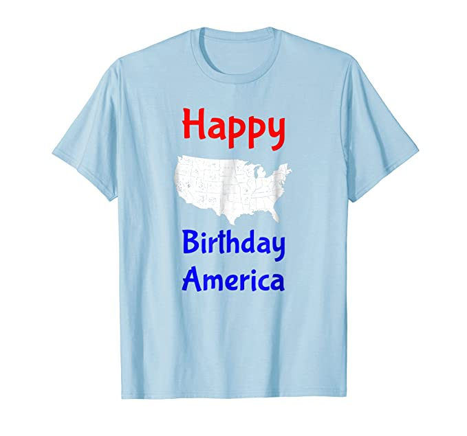 Mens July 4th Happy Birthday America T Shirt For Independence Day 2XL Baby Blue