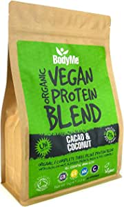 BodyMe Organic Vegan Protein Powder Blend | Cacao Coconut | 1kg | UNSWEETENED | Low Carb | With 3 Plant Based Vegan Protein Powders | 21g Complete Protein | Gluten Free | All Essential Amino Acids