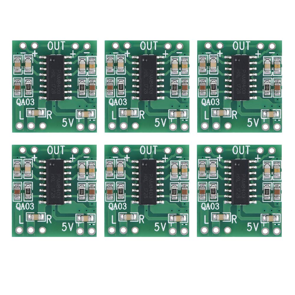 6PCS DC 2.5V-5.5V 3W+3W Type D Super Mini Digital Audio Amplifier Power Amp Control Module Audio Receiver Amplifier Board Wal front