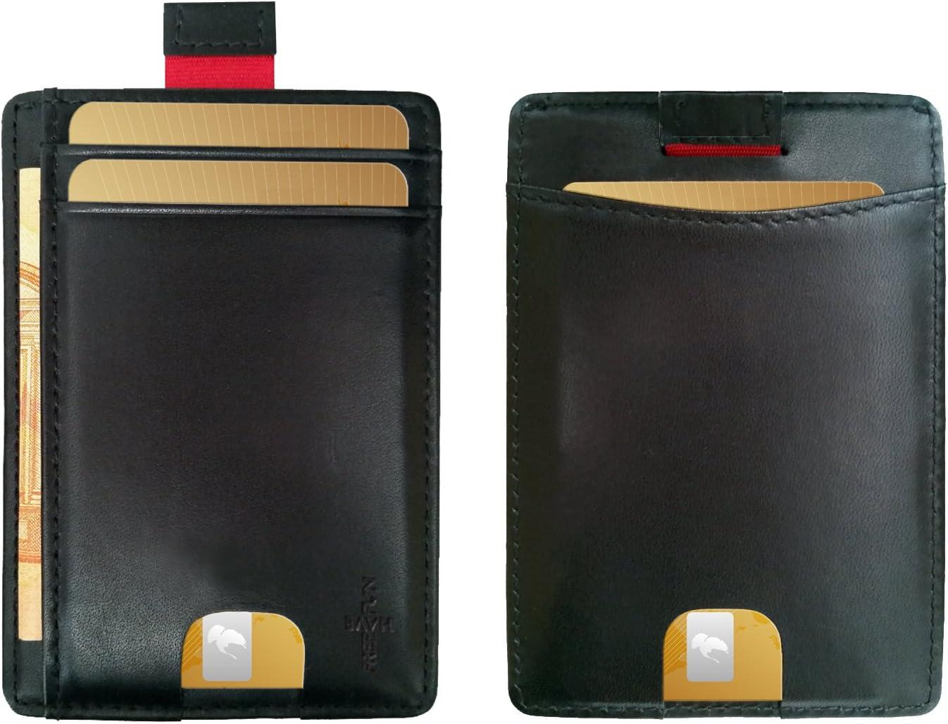 Kartenhalter klein Minimalist Wallet Herren Kreditkartenhalter Damen Kreditkartenetui NFC Schutz Portemonnaie Portmonee Mini Geldb/örse Slim FreeHaveFun/® RFID Blocker Kartenetui Carbon Look schwarz