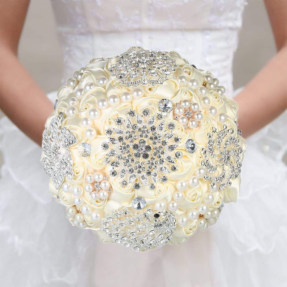 Godagoda Flor Boda Bouquets de Boda Ramo de Novia Perlas Flores Artificiales decoraci/ón Accesorios Encaje Talla /única Blanco