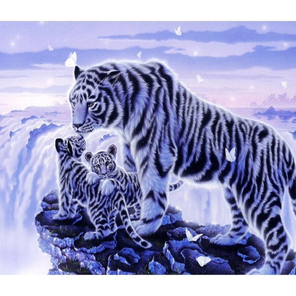 Fipart DIY diamond painting cross stitch craft kit. Wall stickers for living room decoration.tiger(16X12inch/40X30CM)