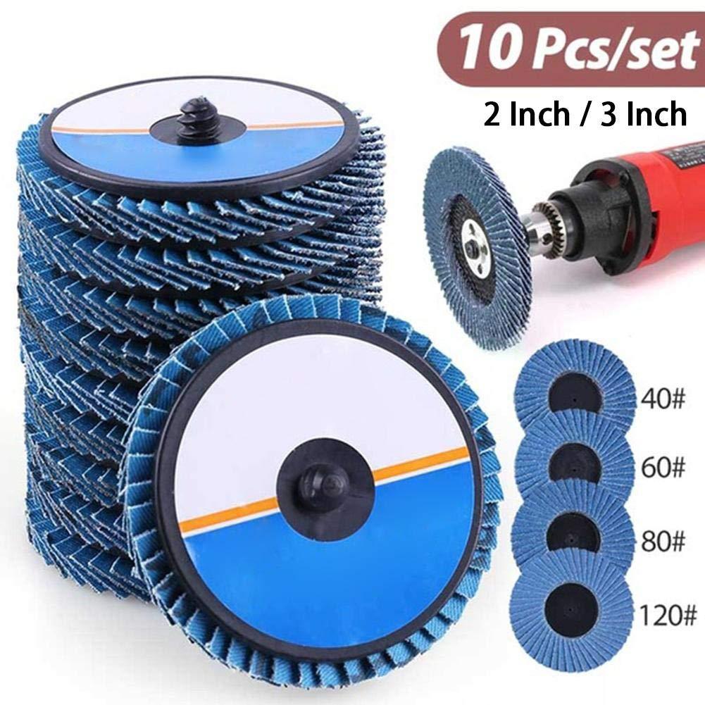 somedays Grit High Density Zirconia Alumina Flat Flap Disc Roloc Roll Sandpaper Wheels 10 PCS 2//3 Inch 40//60//80//120
