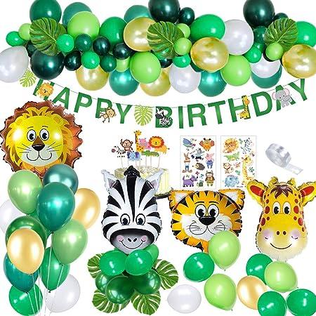 MMTX Decoración fiesta cumpleaños Animal niños, Jungle Safari Banner de decoración de feliz cumpleaños con hojas de palma Globos de látex Animal del ...