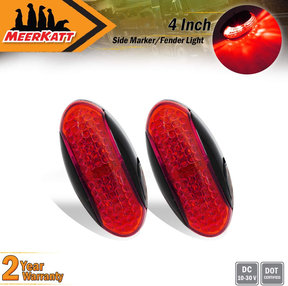 2 Red Small Side Marker Indicator Lights Sealed Mount Bulb for Caravan Van Lorry Trailer SUV Truck Car Jeep Van Pickup Multi-Voltage LED 10-30v DC Weatherproof NG Meerkatt Oval 2 Amber Pack of 4