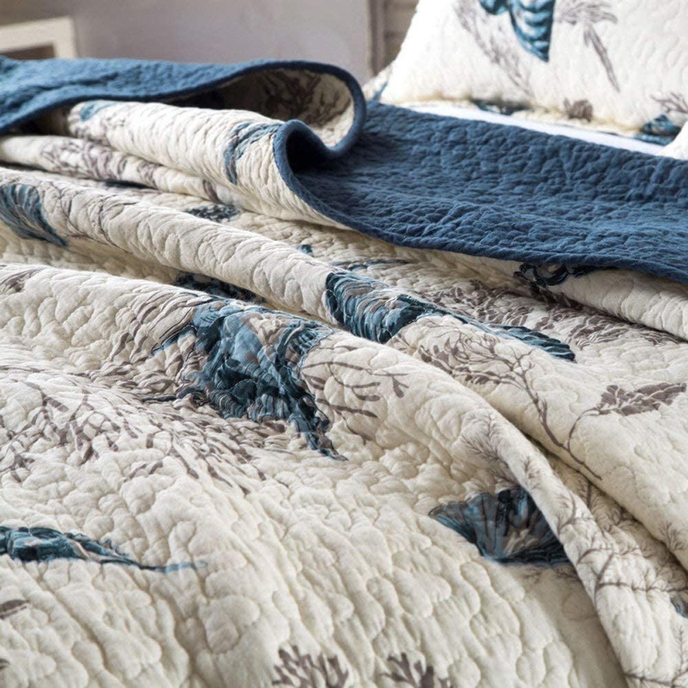 mixinni Beach Theme Seashell Antique Chic Reversible 100/% Cotton 3-Pieces Bedding Set with Star Floral Bedding-Queen Size