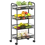 Alsonerbay Utility Rolling Trolley Cart, 4-Tier Metal Supply Cart Snack Cart Kitchen Cart, Multifunctional Movable Storage Or