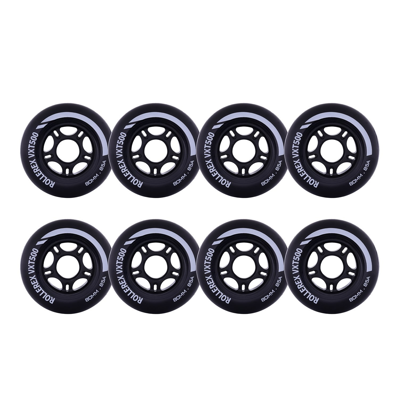 Rollerex VXT500 Inline Skate Wheels (8-Pack) (Steel Black, 80mm) by Rollerex